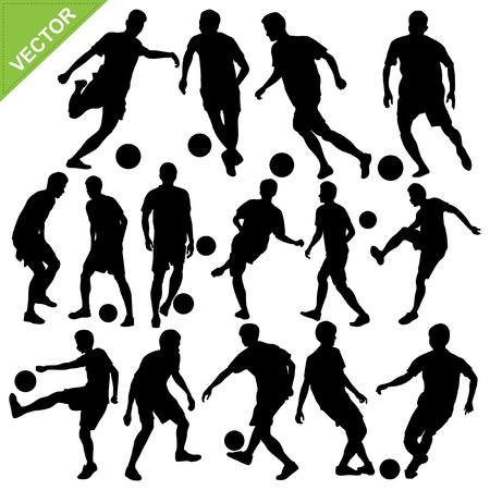 Soccer players silhouettes vector