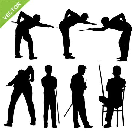billiards tables: Snooker player silhouettes Illustration