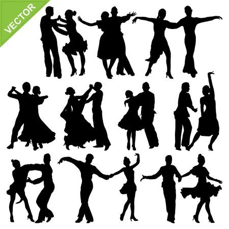 dance music: Dansende silhouetten Stock Illustratie