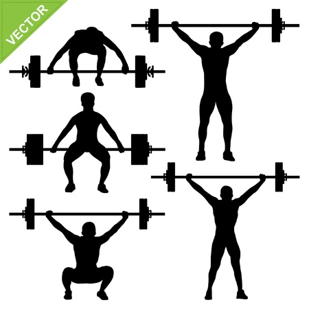 workout gym: Weight-lifting silhouettes  Illustration