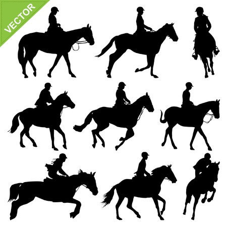 caballo negro: Equitaci�n colecciones siluetas Vectores