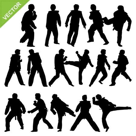 taekwondo: Taekwondo silhouettes  Illustration