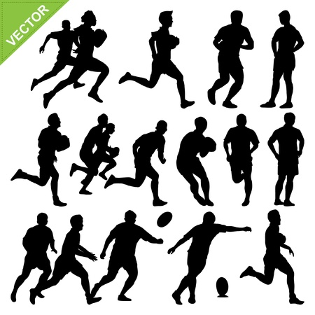 Rugby player silhouettes vector Vectores