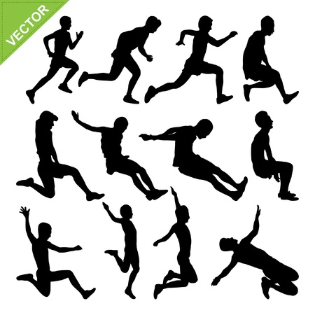woman jump: Long jump silhouettes vector