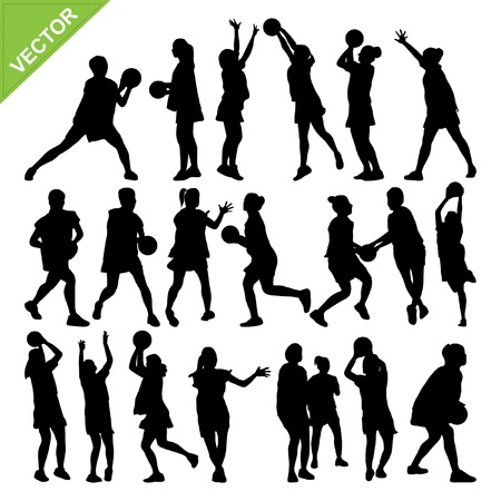 Netball player silhouettes