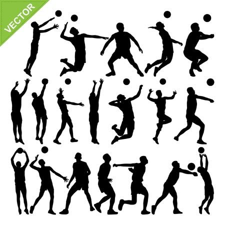 pelota de voleibol: Hombres jugador de voleibol siluetas