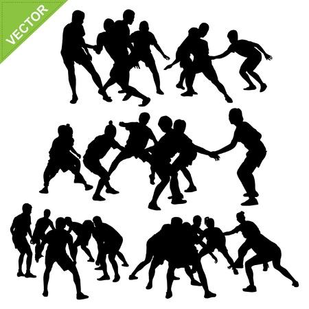 Kabaddi player silhouettes Stock Vector - 18544635