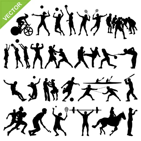 badminton: Sport players silhouettes