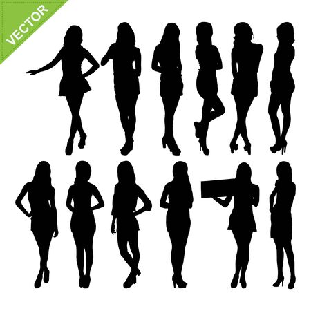 sexy young couple: Sexy women silhouettes vector