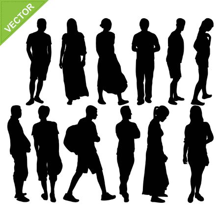 peoples: Peoples silhouettes vector