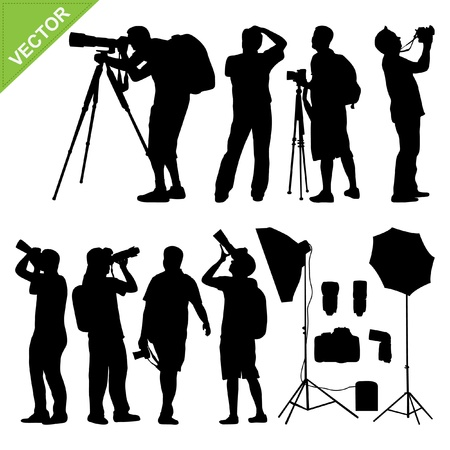 the photographer: Photographer silhouettes vector