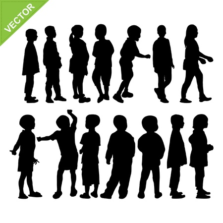 silhouettes of children: Kids silhouette vector