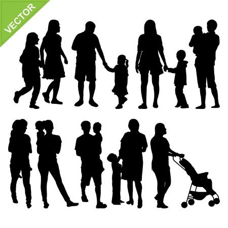 Los ni�os y el vector silueta de la familia Vectores