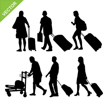 people travelling: Airport passengers silhouette Illustration