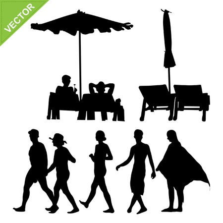 eco tourism: Beach umbrella and deck ans peoples silhouette