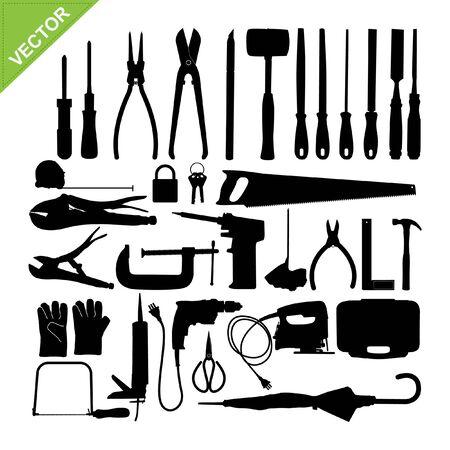 rasp: Set of Tools silhouette vector