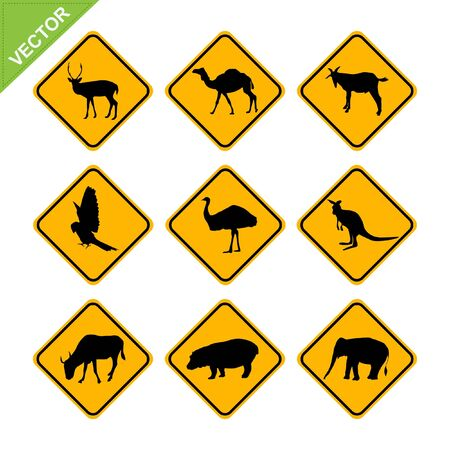Animal traffic sign vector Vector