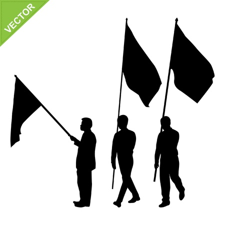nationalist: Men holding flag silhouettes vector