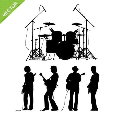 band instruments: Musicians and drums silhouettes