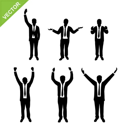 raised hand: Business man silhouettes