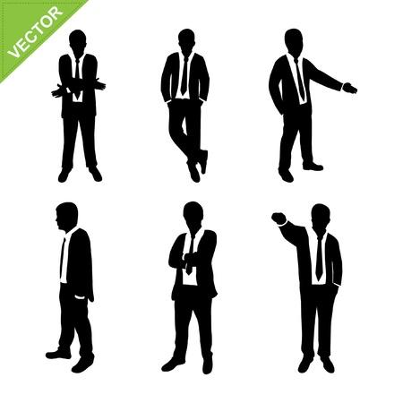 bras lev�: L'homme d'affaires silhouettes