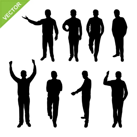 raising hand: Actions of Business man silhouettes vector