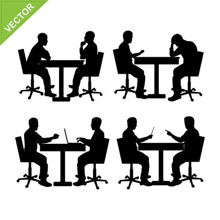 Business man meeting silhouette vector Иллюстрация