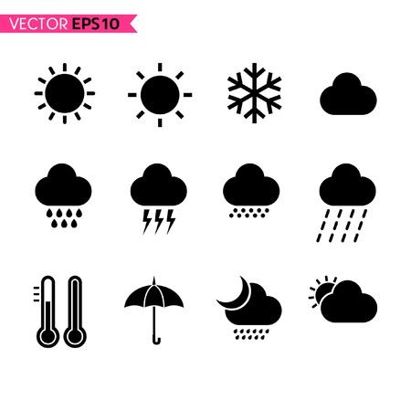torrential rain: Weather icons set 1 Illustration