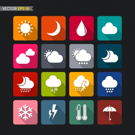 Weather icons vector Vector