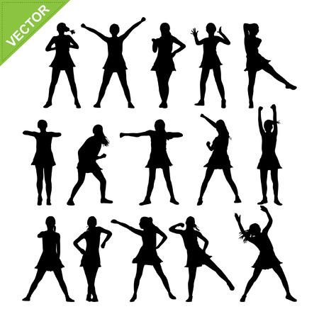 aerobic: Danza aer�bica siluetas vector