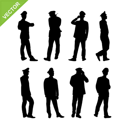 guards: Security guard silhouette vector
