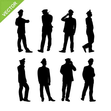 m�nner business: Wachdienst Silhouette Vektor Illustration