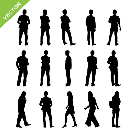 standing: Peoples silhouettes vector
