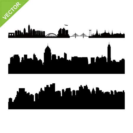 bangkok landmark: Bangkok landmark and skyline silhouettes vector Illustration