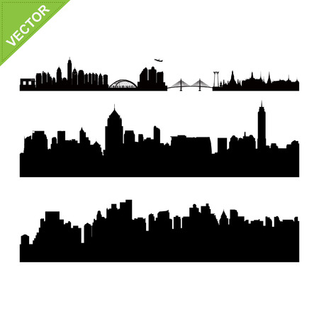 Bangkok landmark en skyline silhouetten vector Stock Illustratie