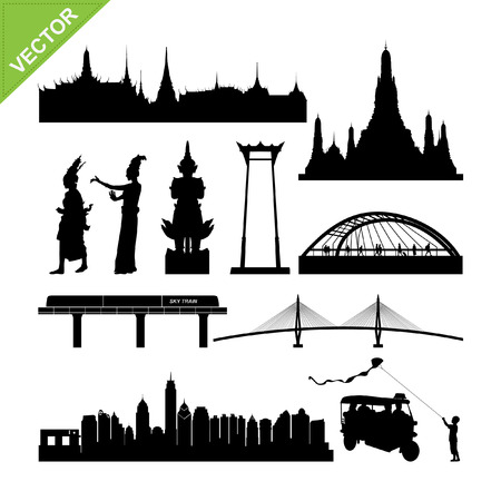 bangkok landmark: Bangkok symbol and landmark silhouettes vector