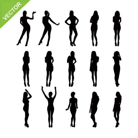 naked girl: Sexy women silhouettes vector set 5