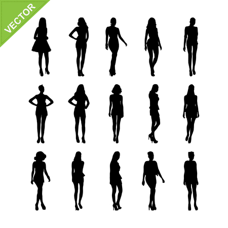 naked woman: Sexy women and model posing silhouettes vector set 6 Illustration