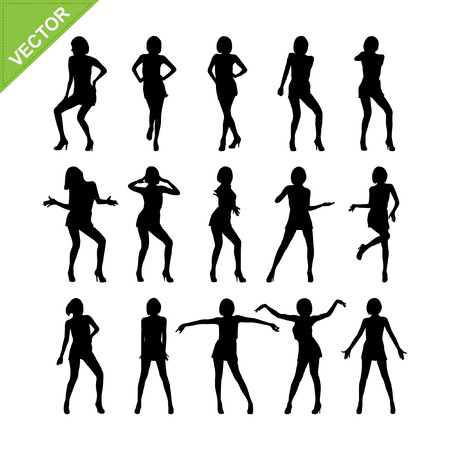 Sexy vrouwen adn dansen silhouetten Stock Illustratie