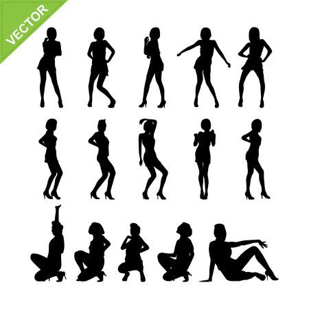 Sexy women adn dancing silhouettes  Illustration