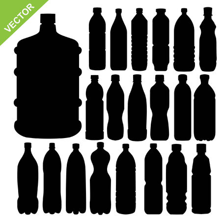 standing water: drink bottle silhouettes vector