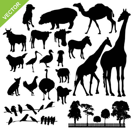 Set of aniaml and farm silhouette vector Vector