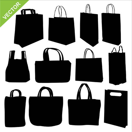 brown paper bag: The set of shopping bag silhouettes vector Illustration