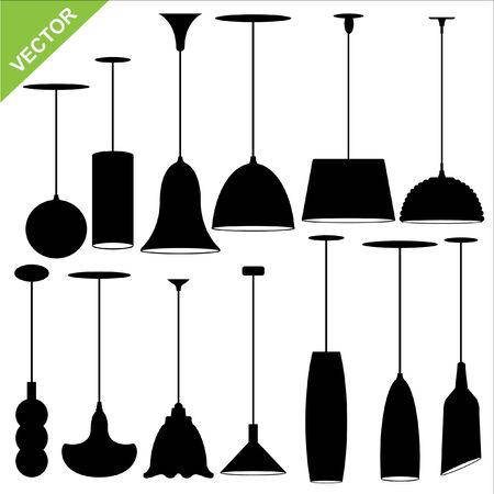 mobiliario de oficina: Conjunto de siluetas de l�mparas de vectores