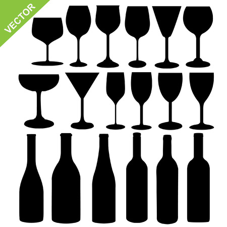 Set of wine bottles and glass silhouette vector Vectores