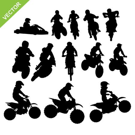 motorcross: Conjunto de Motocross siluetas vector