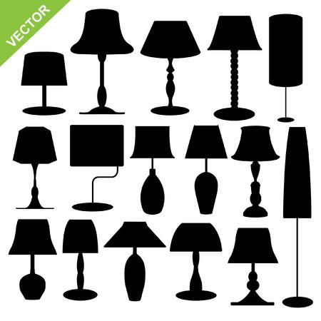 lamp silhouette: Set of silhouette lamp  Illustration