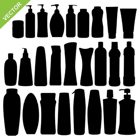shampoo: Set of cosmetics bottle silhouettes vector Illustration