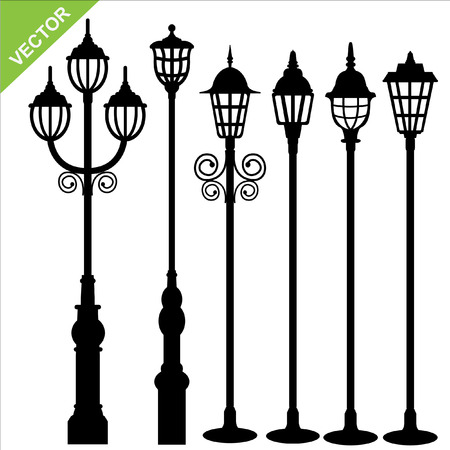 street lamps: Set of street lamps silhouettes vector  Illustration