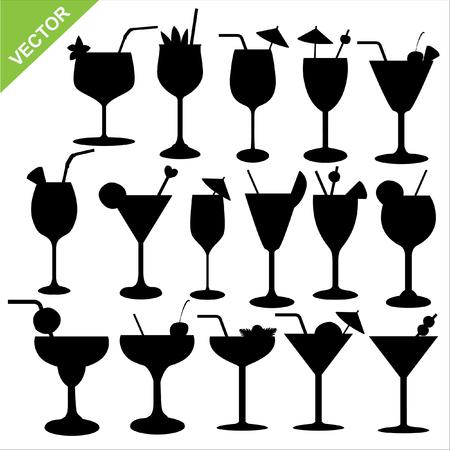margarita cocktail: Conjunto de siluetas de vector de un c�ctel Vectores